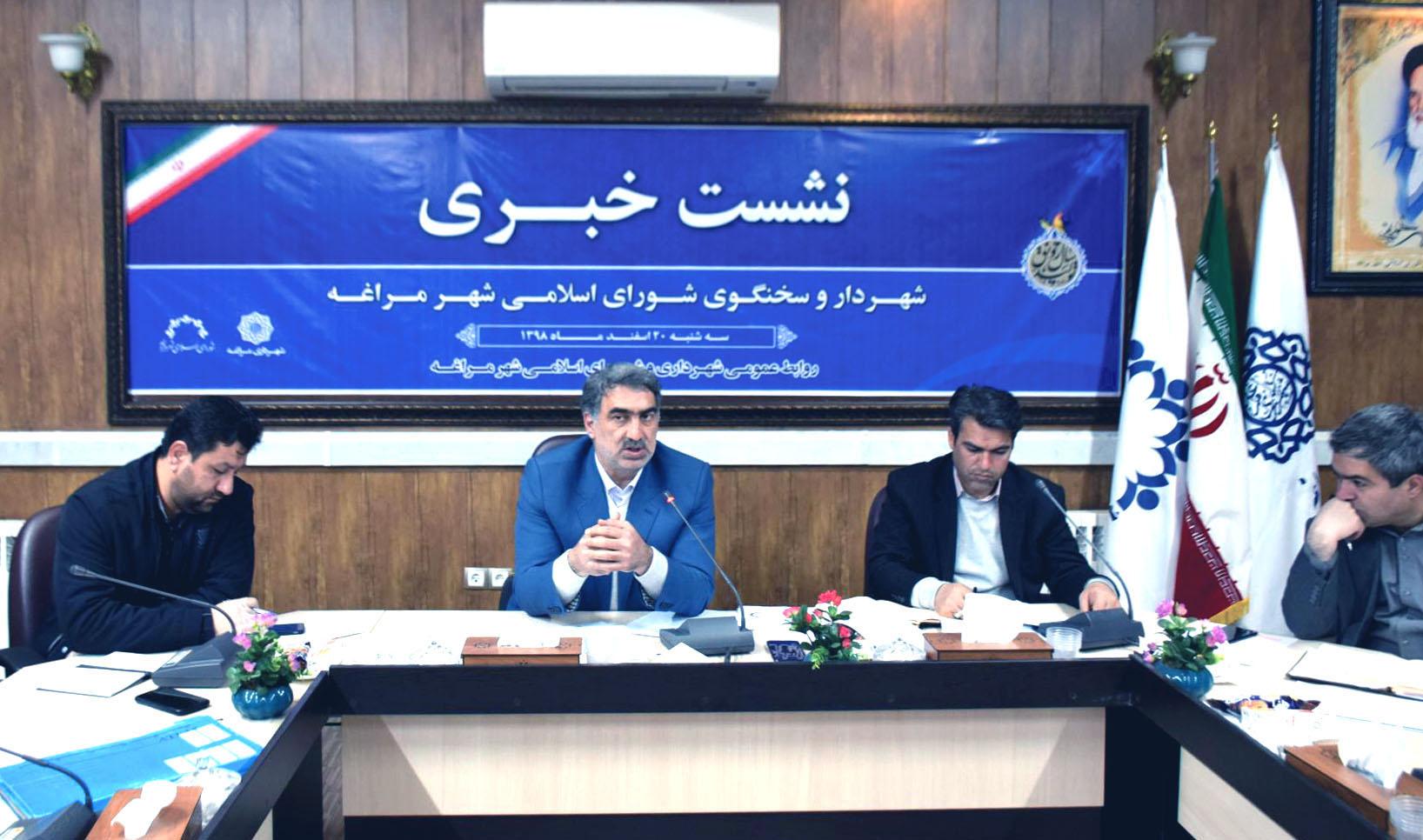۱۳۹۹ سال اوج گیری فعالیت های عمرانی و خدماتی شهرداری و شورای اسلامی شهر مراغه
